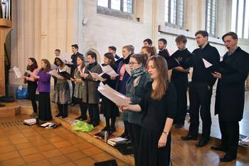Somerville College Choir rehearsing at Douai Abbey